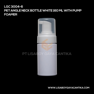LGC-3004-6-PET-ANGLE-NECK-BOTTLE-WHITE-160-ML-WITH-PUMP-FOAMER