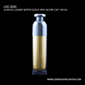 LGC-2023-ACRYLIC-LUXURY-BOTTLE-GOLD-WITH-SILVER-CAP-100-ML
