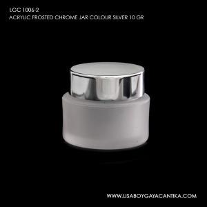 LGC-1006-2-ACRYLIC-FROSTED-CHROME-JAR-COLOUR-SILVER-10-GR