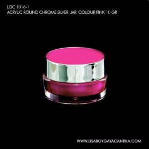 LGC-1016-1-ACRYLIC-ROUND-CHROME-SILVER-JAR-COLOUR-PINK-10-GR