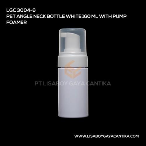LGC-3004-6-PET-ANGLE-NECK-BOTTLE-WHITE-160-ML-WITH-PUMP-FOAMER