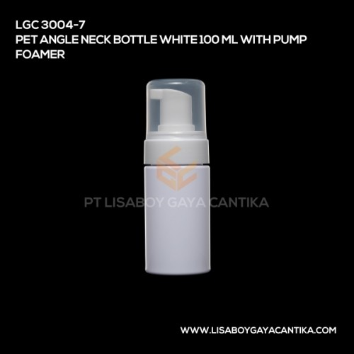 LGC-3004-7-PET-ANGLE-NECK-BOTTLE-WHITE-100-ML-WITH-PUMP-FOAMER